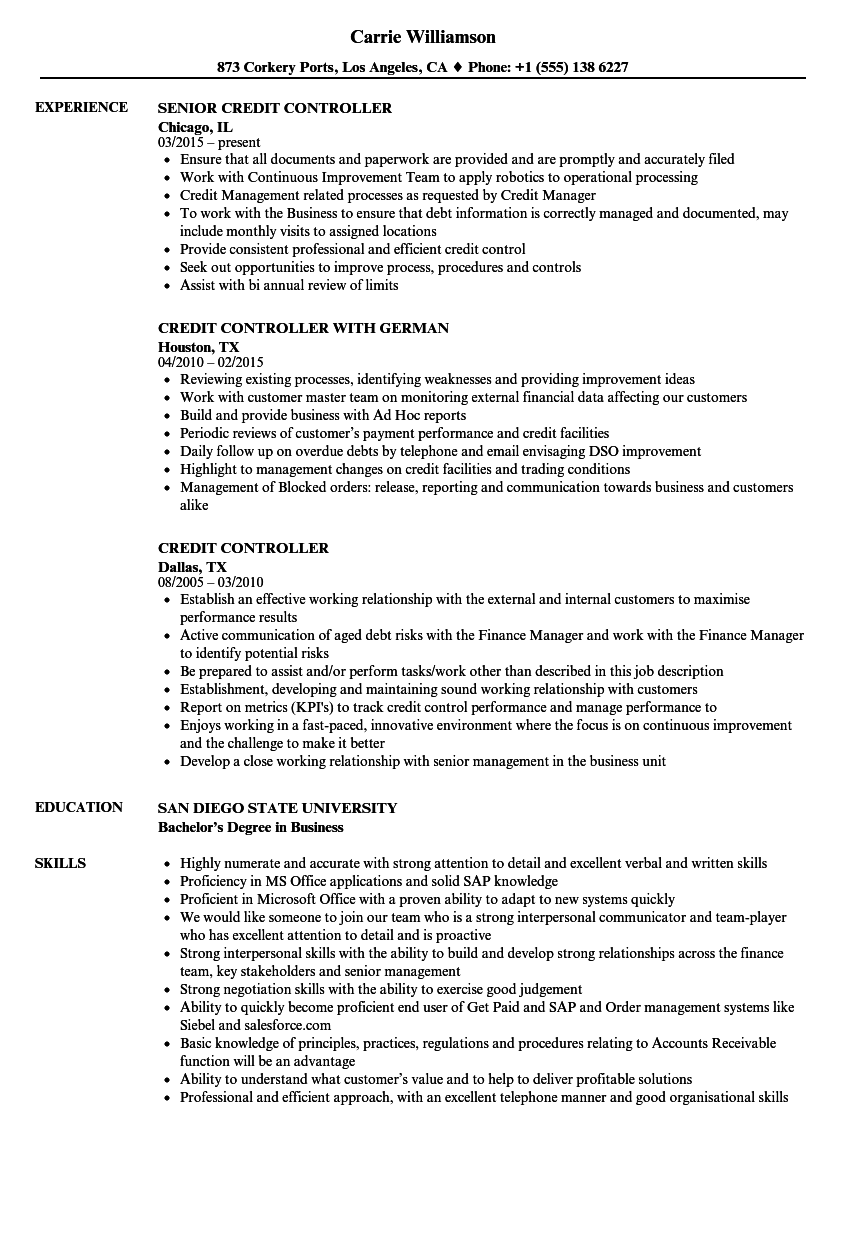 Credit Controller Resume Samples | Velvet Jobs