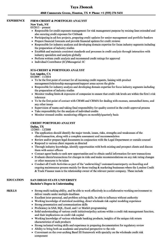 Download Credit Portfolio Analyst Resume Sample As Image File