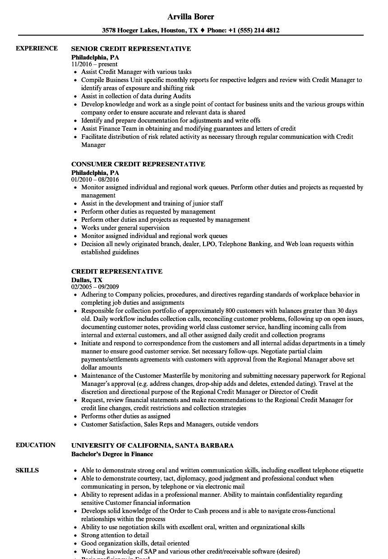 credit representative resume samples