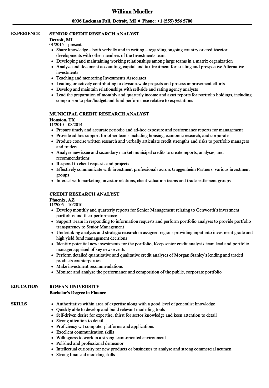 credit research analyst resume samples