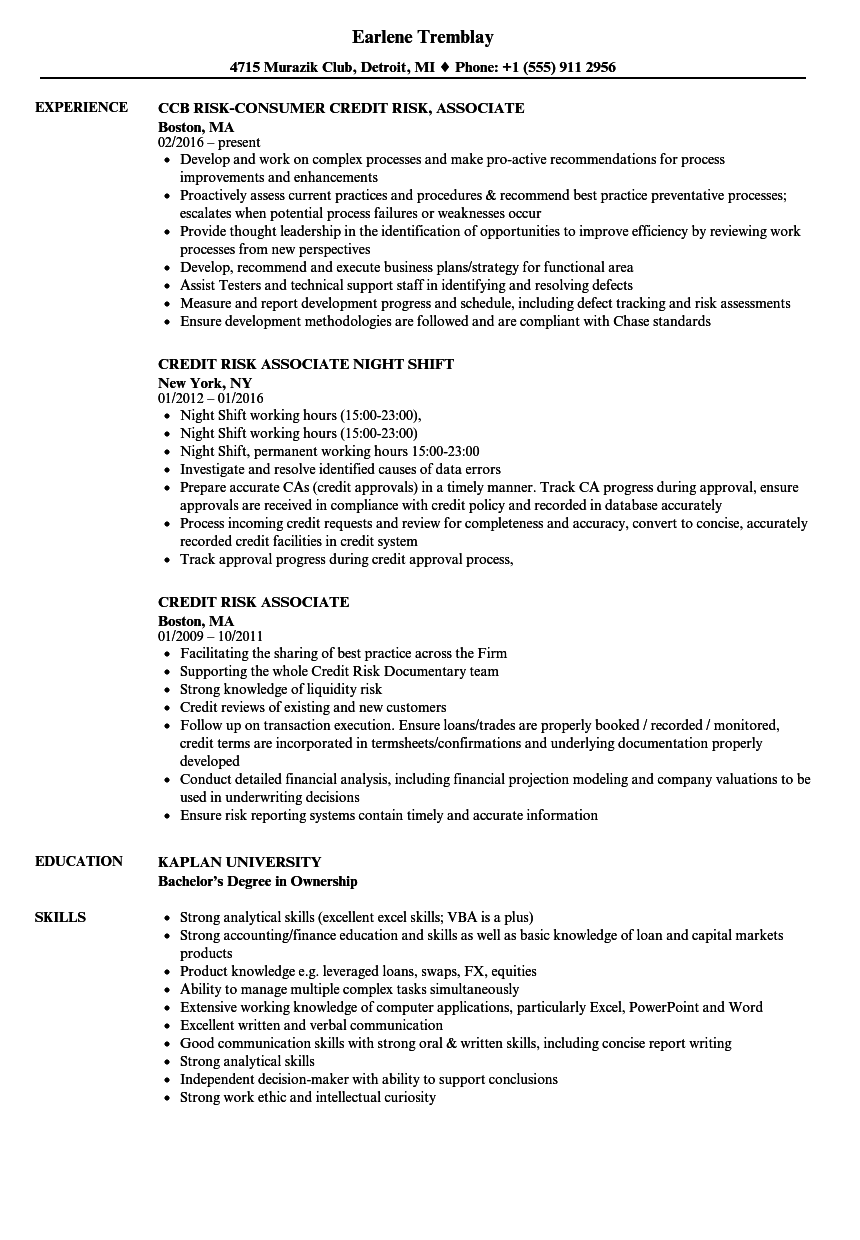 credit risk associate resume samples