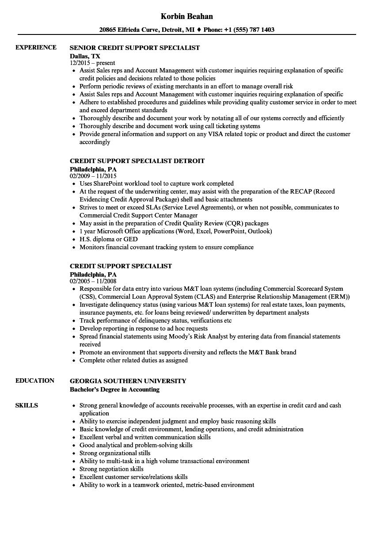 resume Credit Specialist Resume credit support specialist resume samples velvet jobs download sample as image file