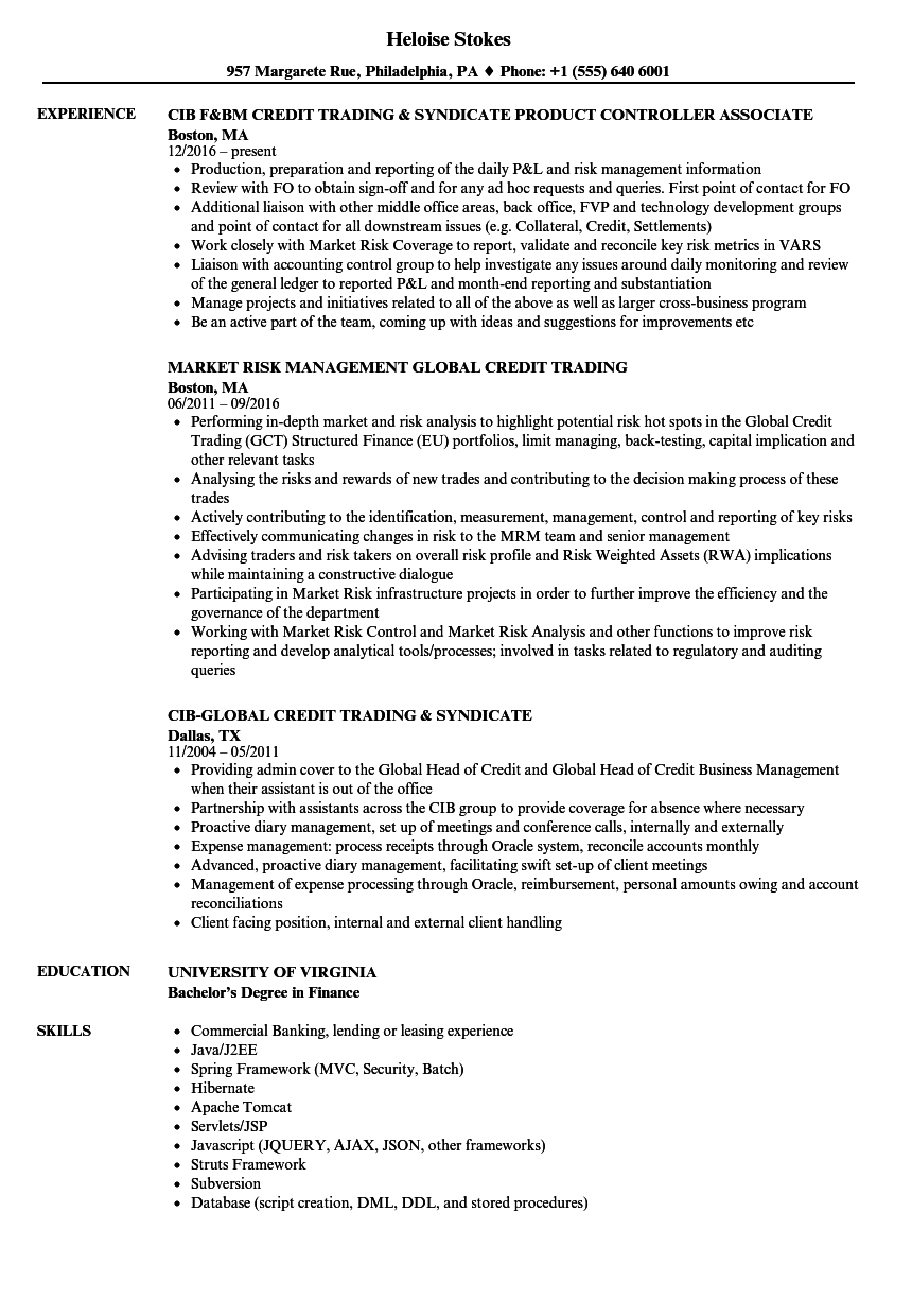 credit trading resume samples velvet jobs