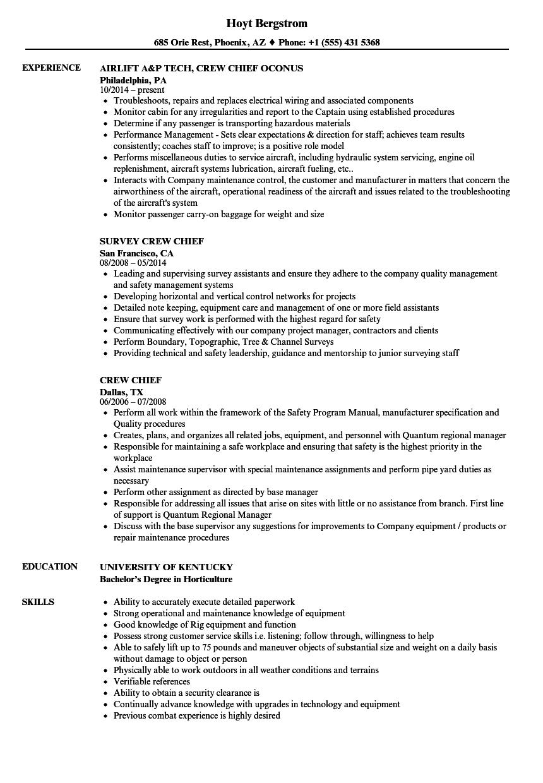 Crew Chief Resume Samples | Velvet Jobs