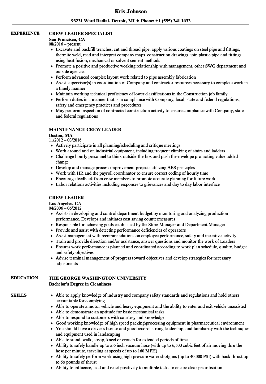 Download Crew Leader Resume Sample As Image File