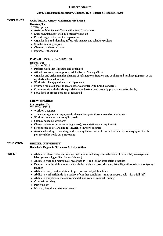 crew member resume samples velvet jobs