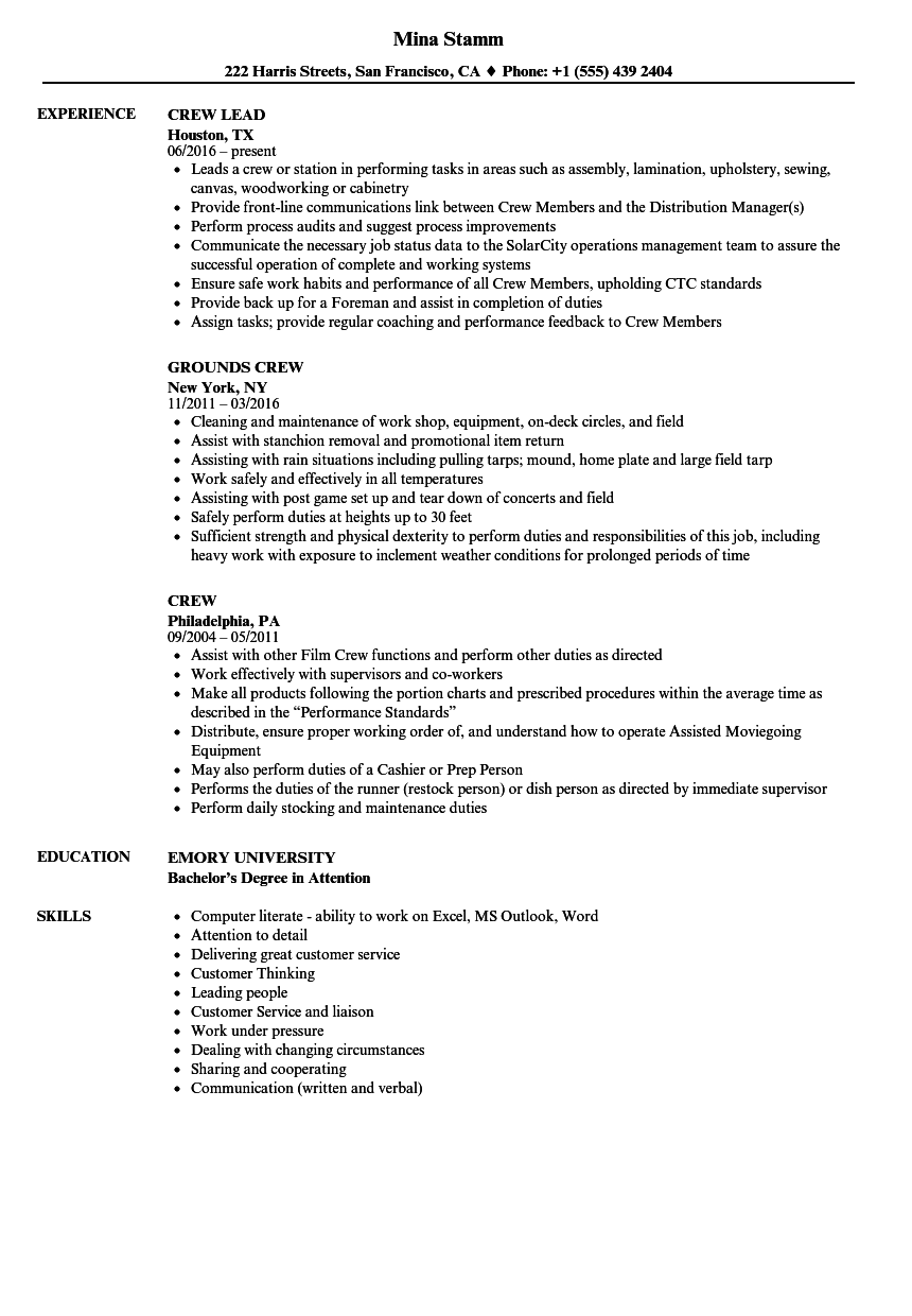 resume sample of service crew