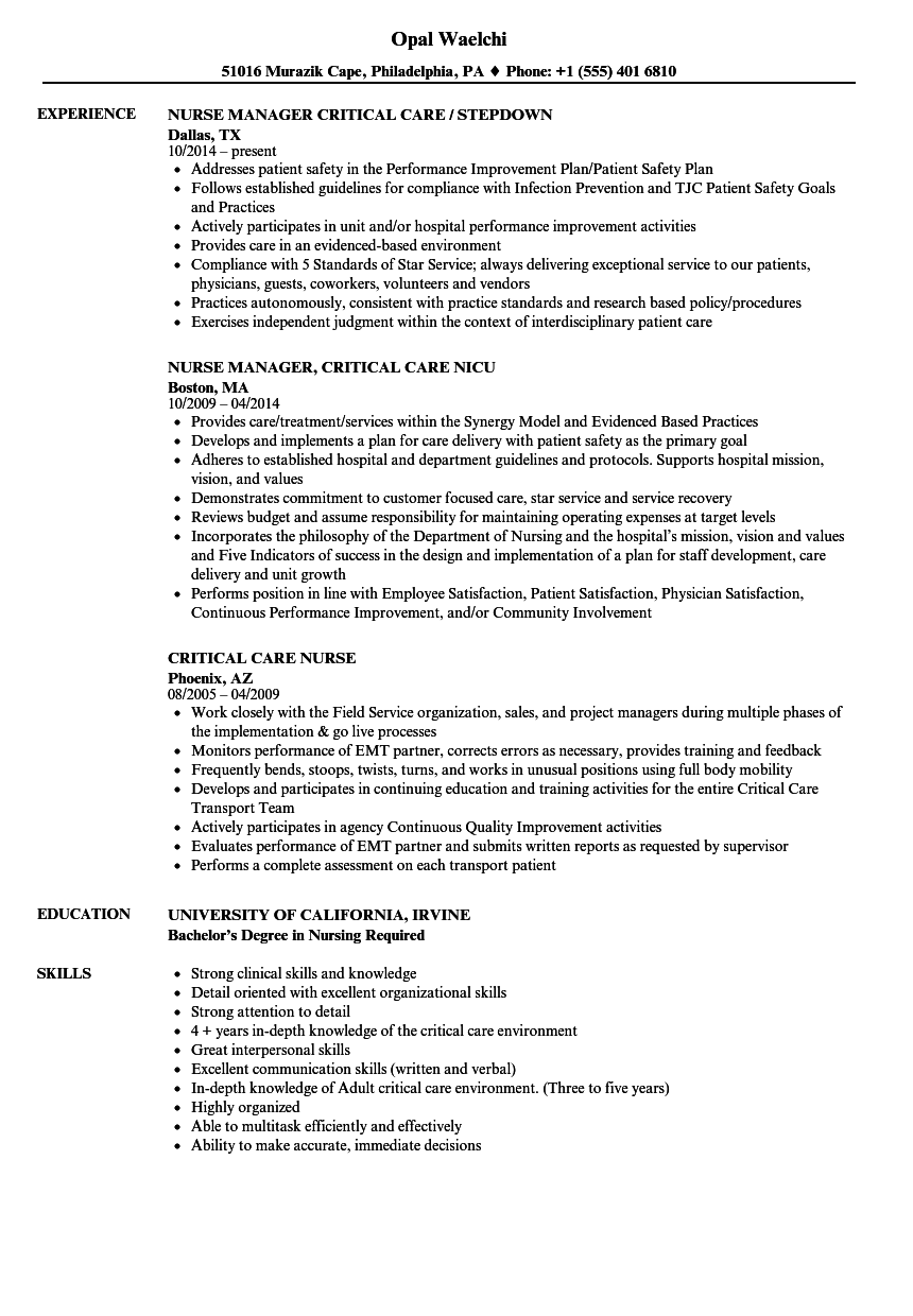 critical care nurse resume samples velvet jobs