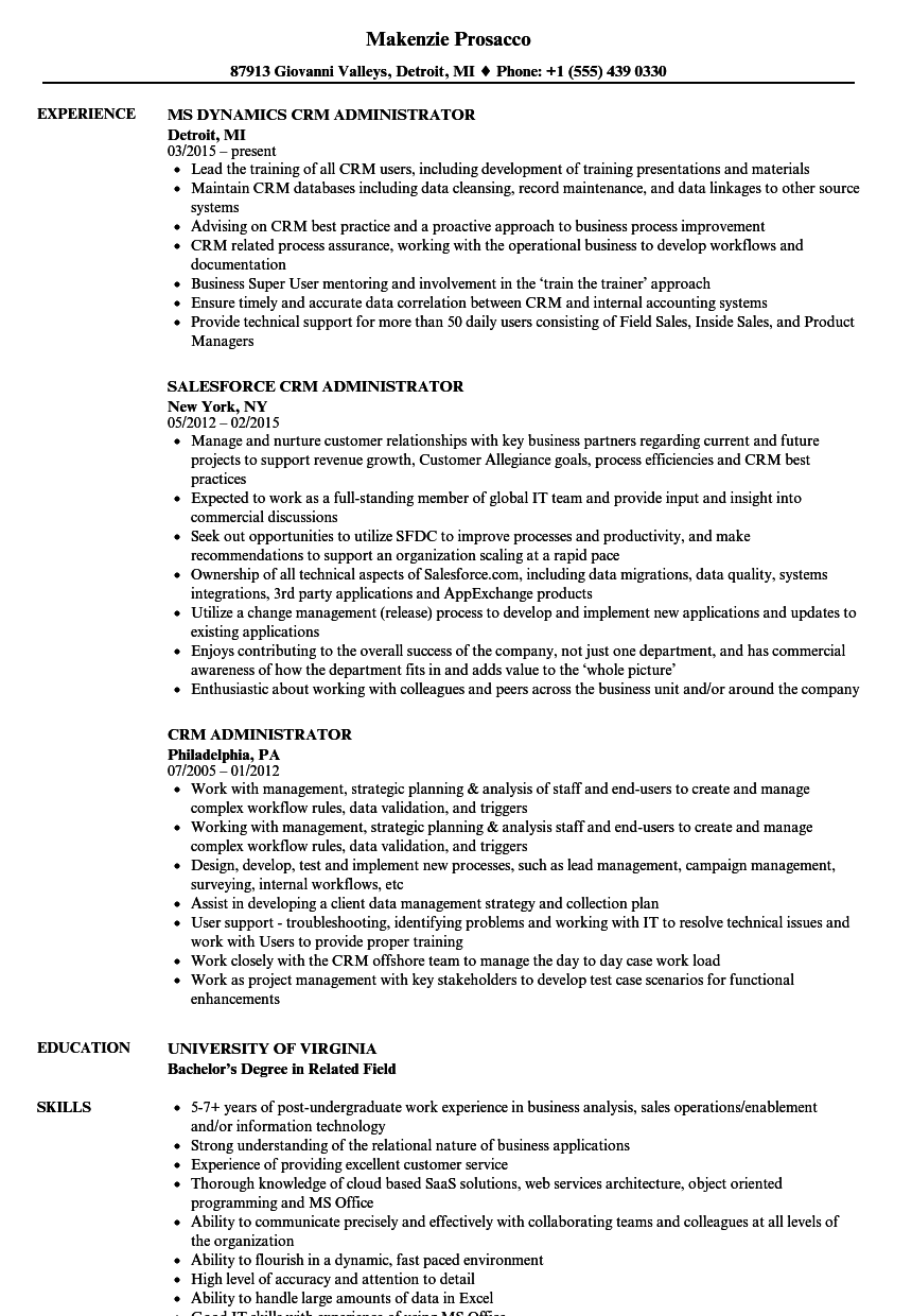 crm testing resume sample