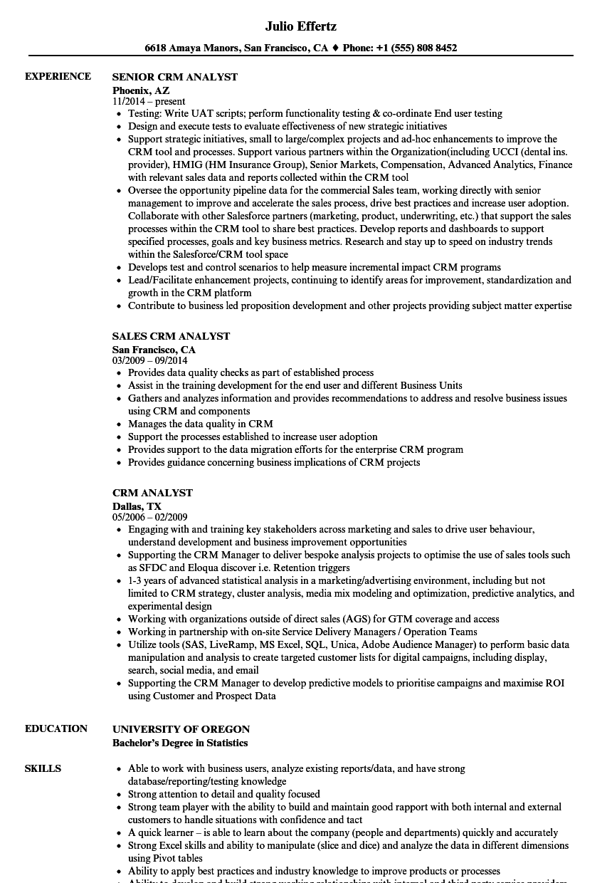 crm analyst resume samples