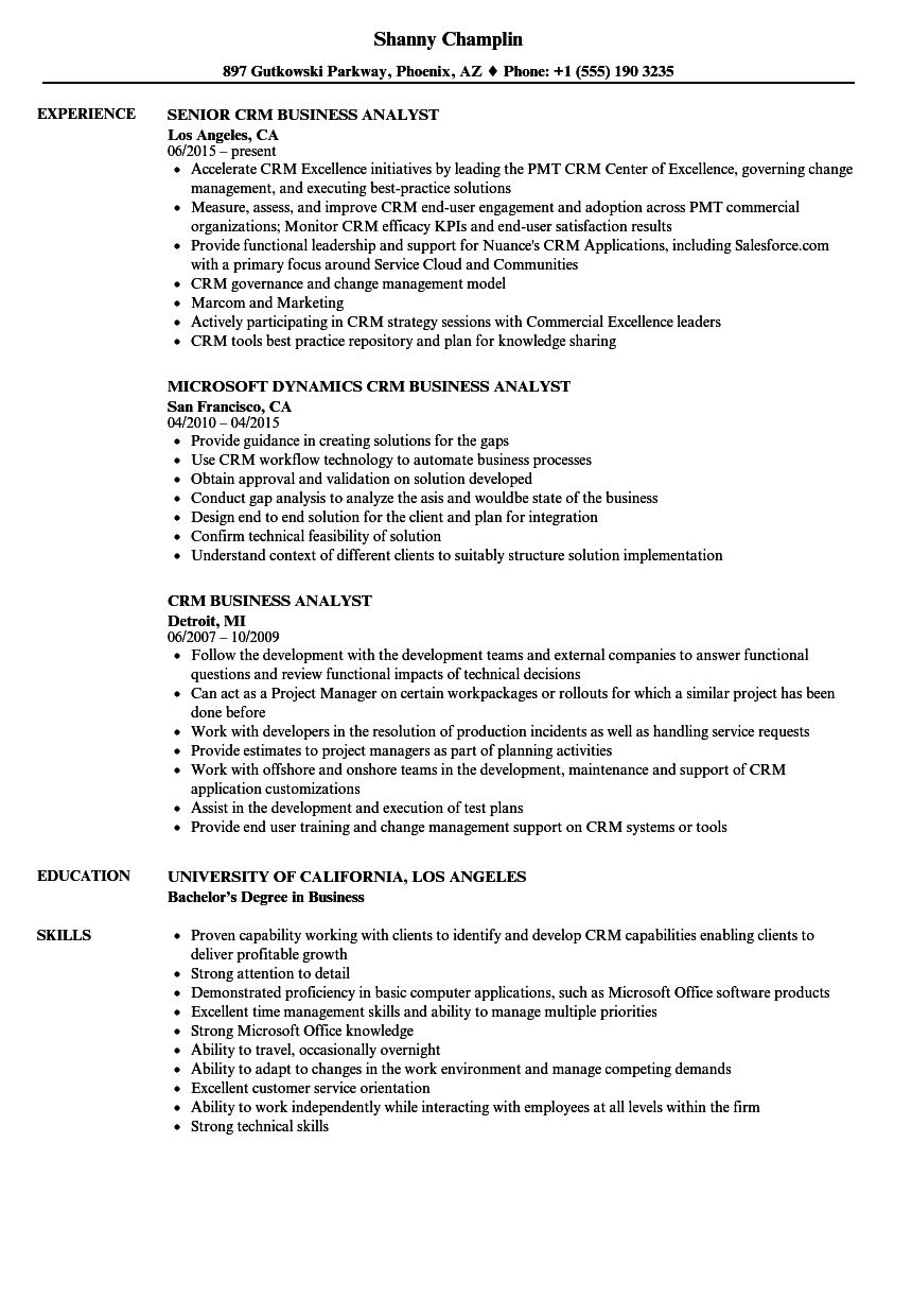 crm business analyst resume samples