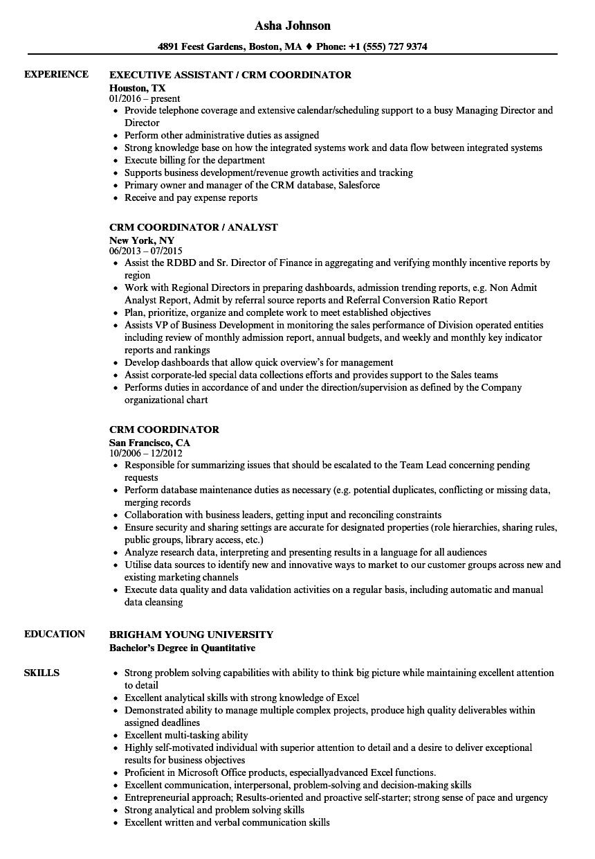 Download CRM Coordinator Resume Sample As Image File
