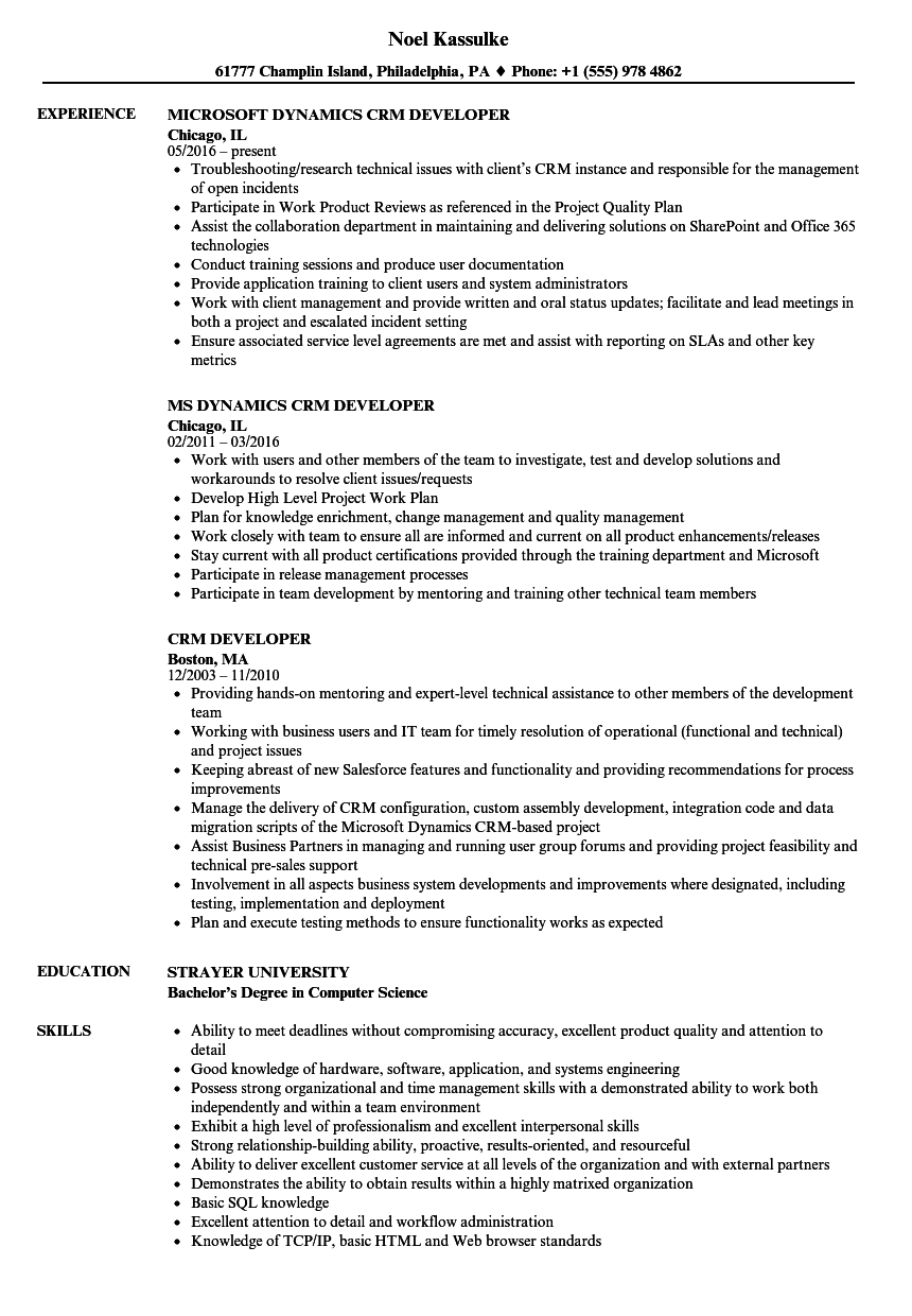 crm developer resume samples