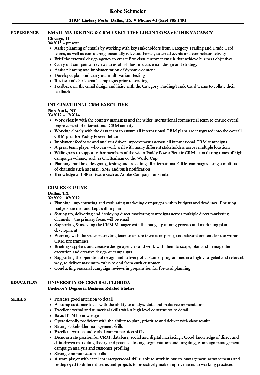 crm executive resume samples