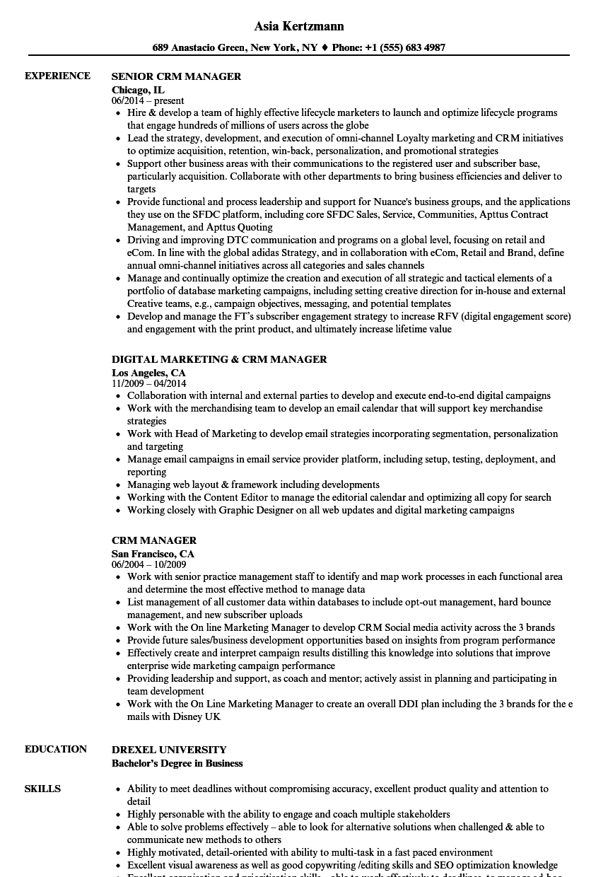 Crm Manager Resume Samples Velvet Jobs