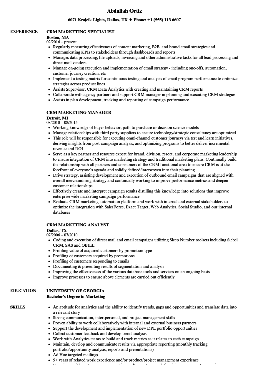 crm marketing resume samples