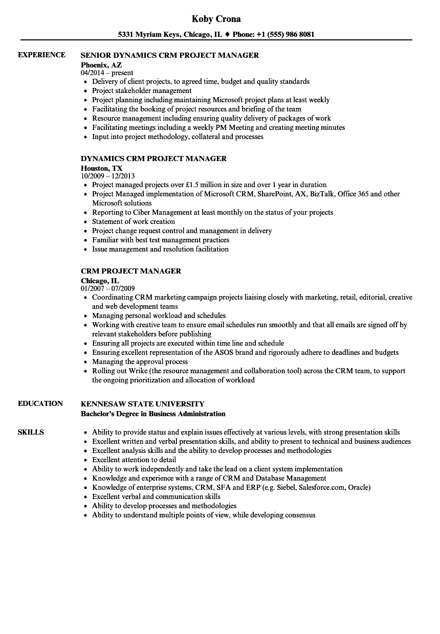 CRM Project Manager Resume Samples | Velvet Jobs