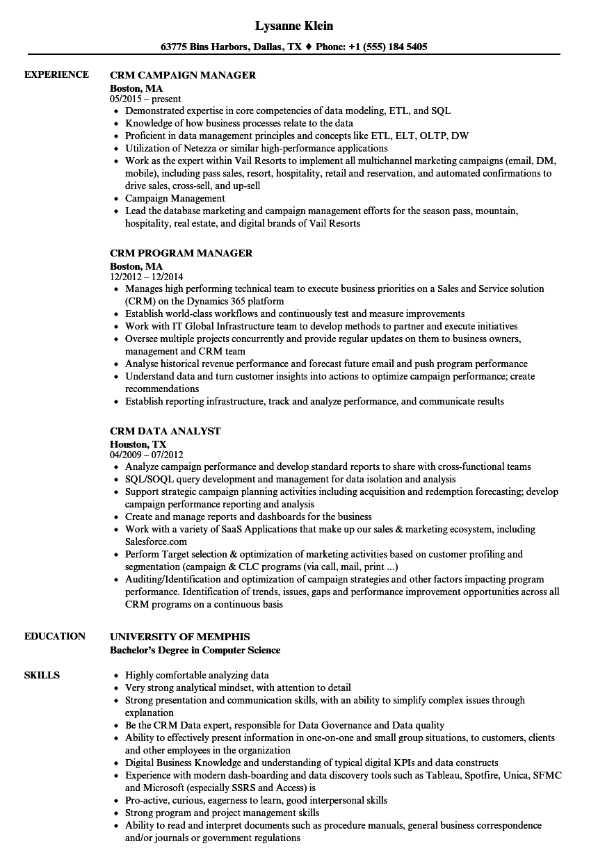 Crm Resume Samples Velvet Jobs