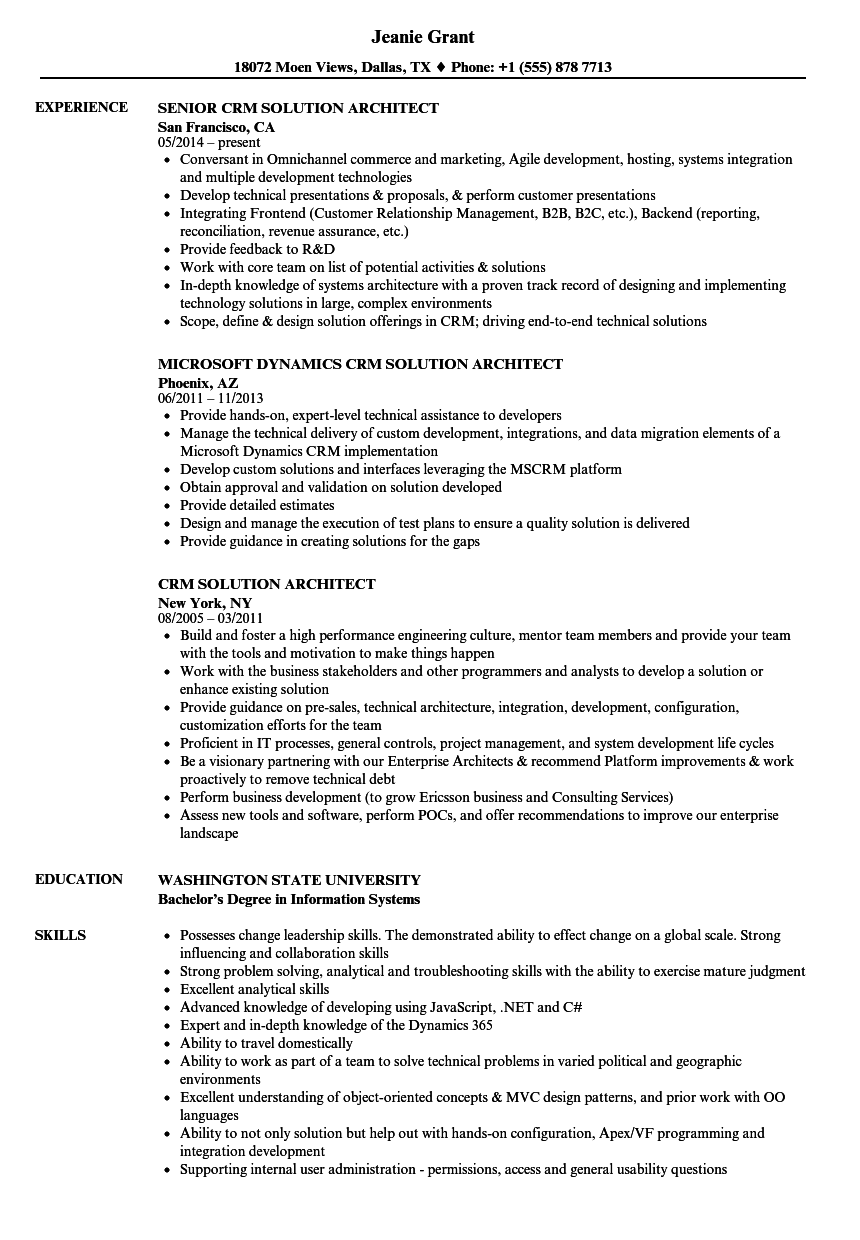 Crm Solution Architect Resume Samples | Velvet Jobs