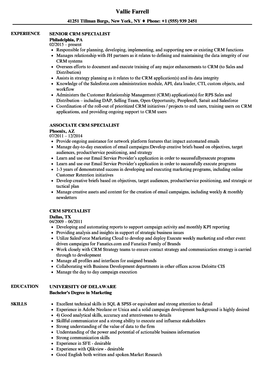 crm specialist resume samples