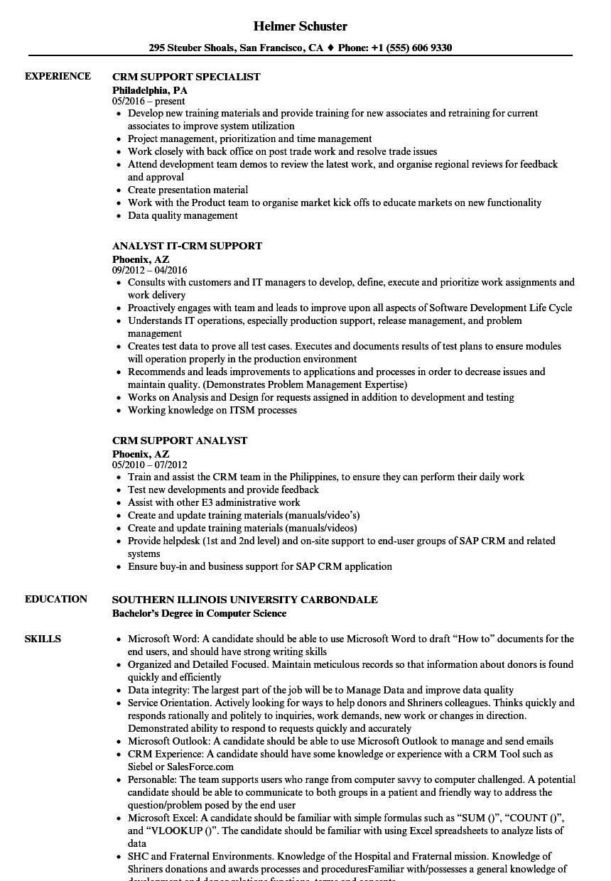 CRM Support Resume Samples | Velvet Jobs