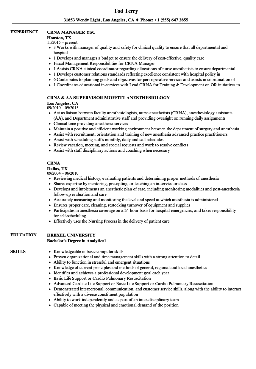 Good Download Crna Resume Sample As Image File