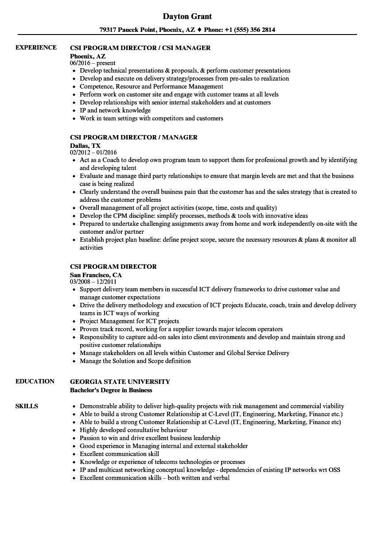 csi resume samples