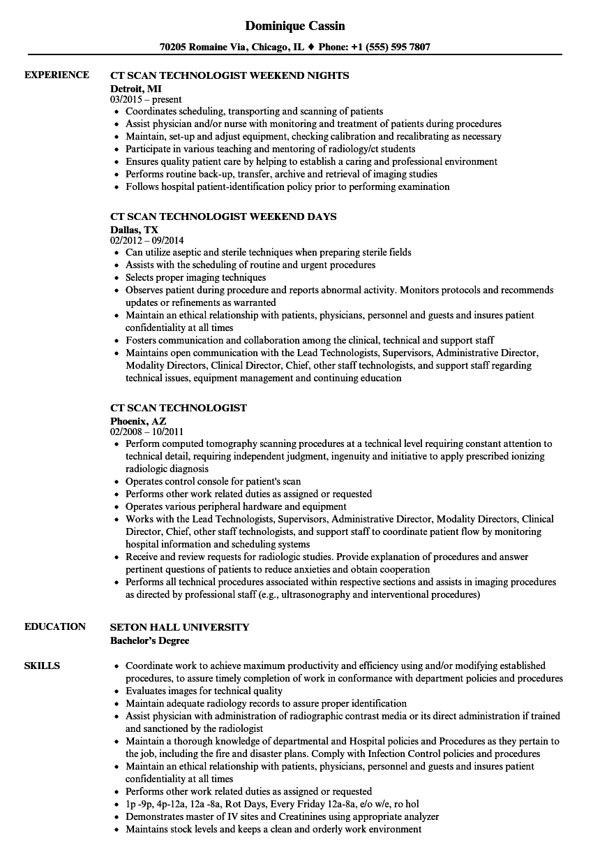 CT Scan Technologist Resume Samples | Velvet Jobs