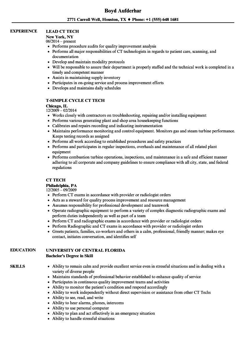 CT Tech Resume Samples | Velvet Jobs
