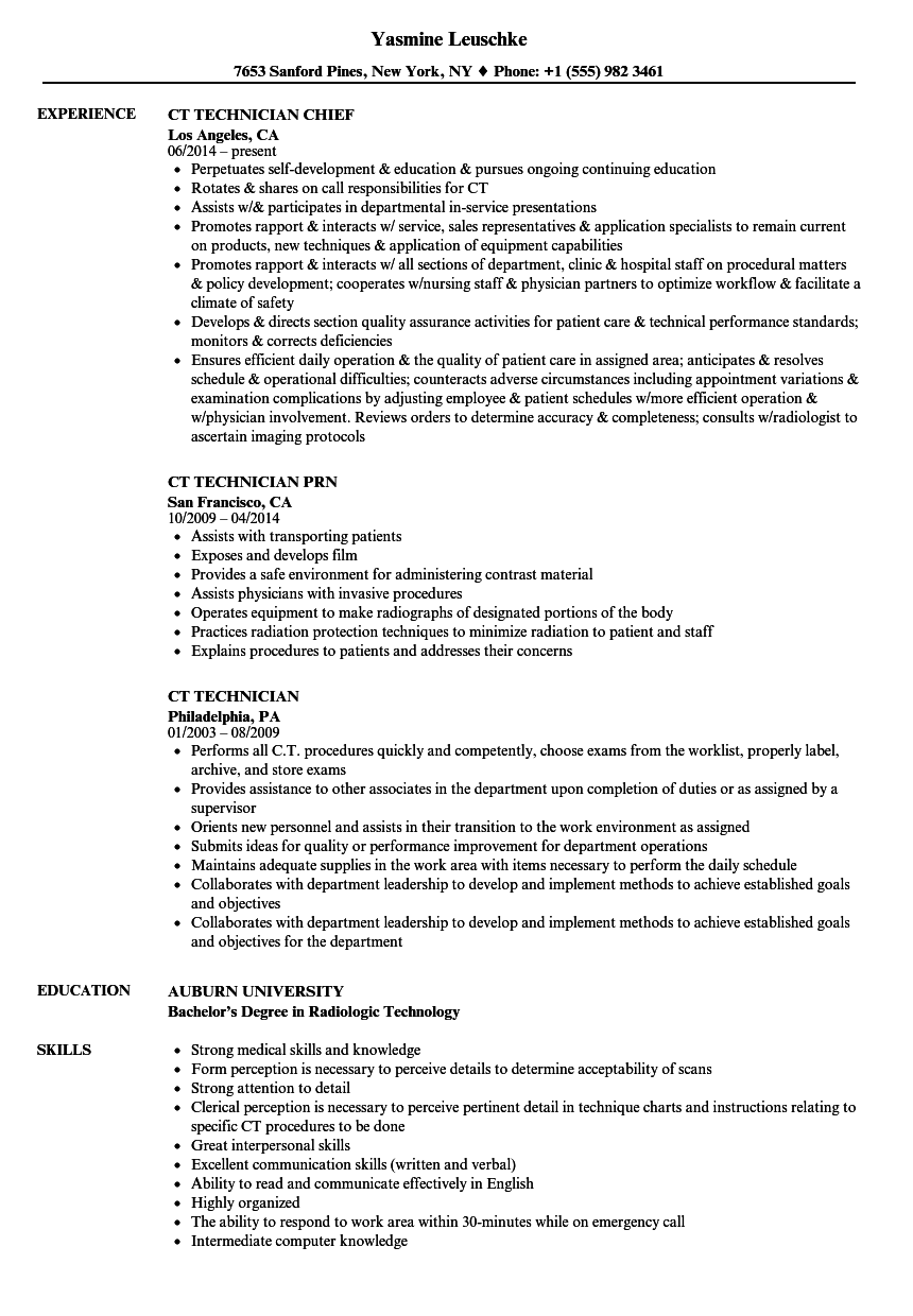 Ct Technician Resume Samples Velvet Jobs