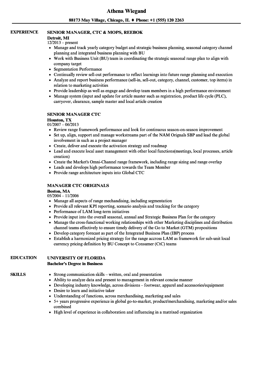 ctc manager resume samples