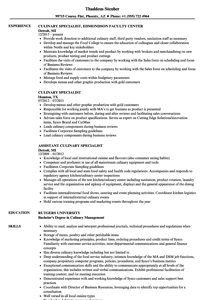 Culinary Specialist Resume Samples