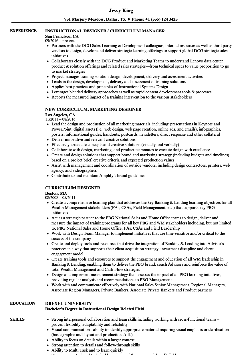 curriculum designer resume samples