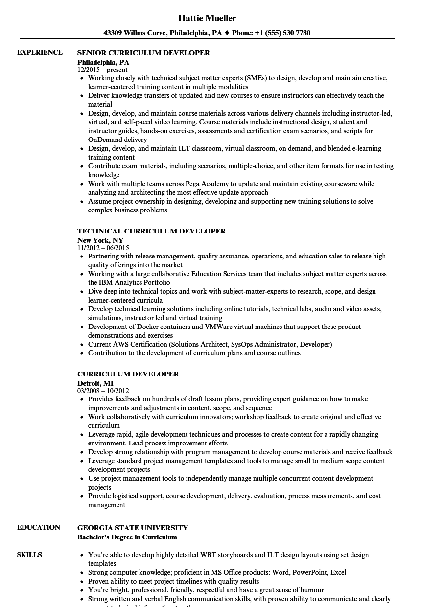Curriculum Developer Resume Samples | Velvet Jobs