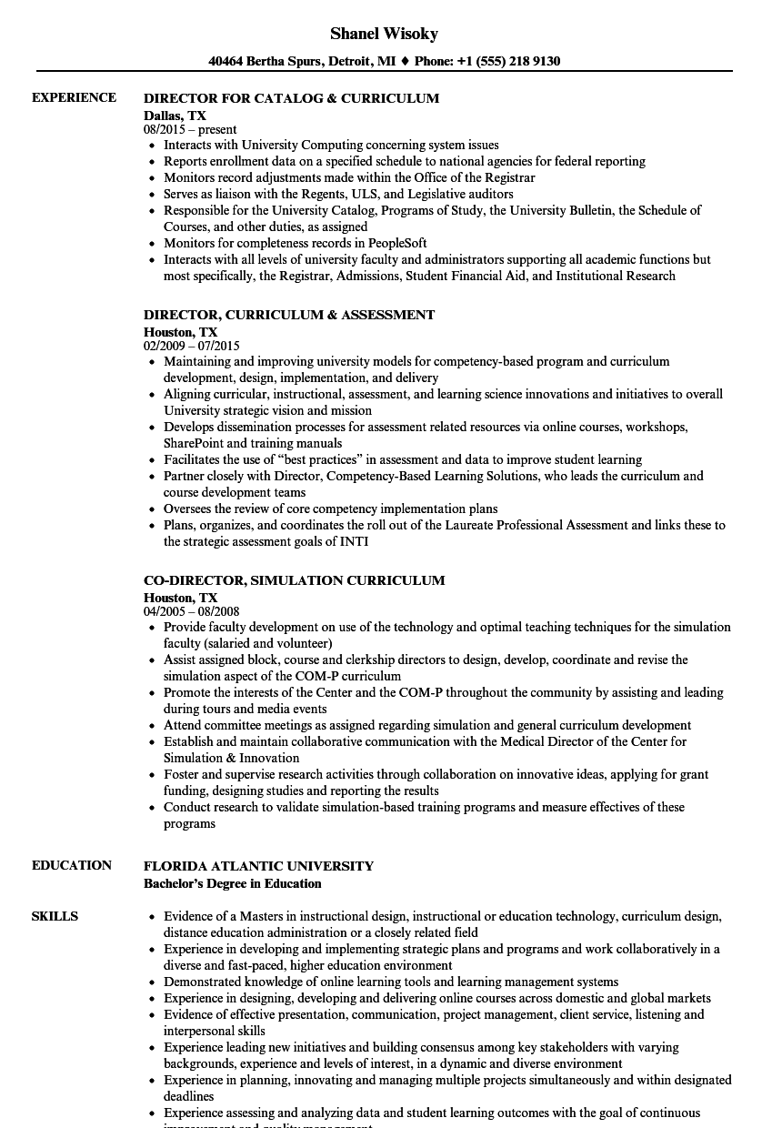Curriculum Director Resume Samples