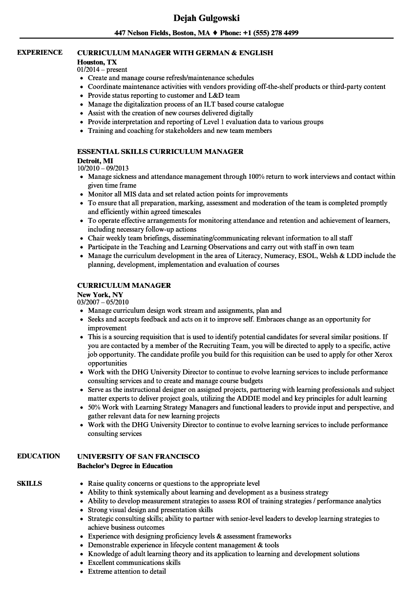 curriculum manager resume samples