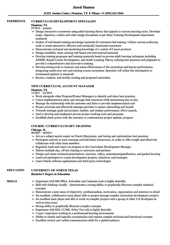 Curriculum Resume Samples   Velvet Jobs