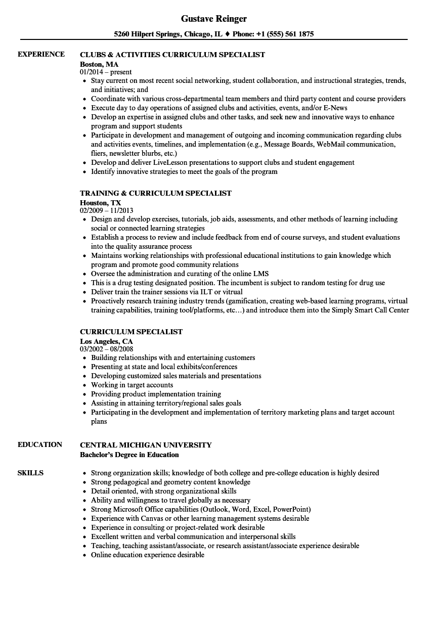 Download Curriculum Specialist Resume Sample As Image File