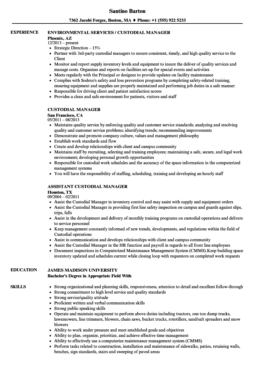Custodial Manager Resume Samples | Velvet Jobs