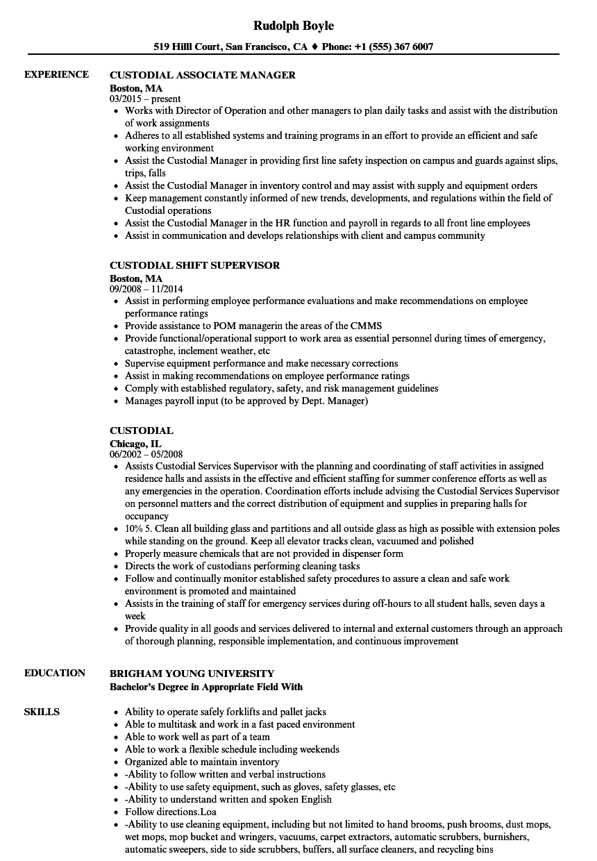 Custodial Resume Samples | Velvet Jobs