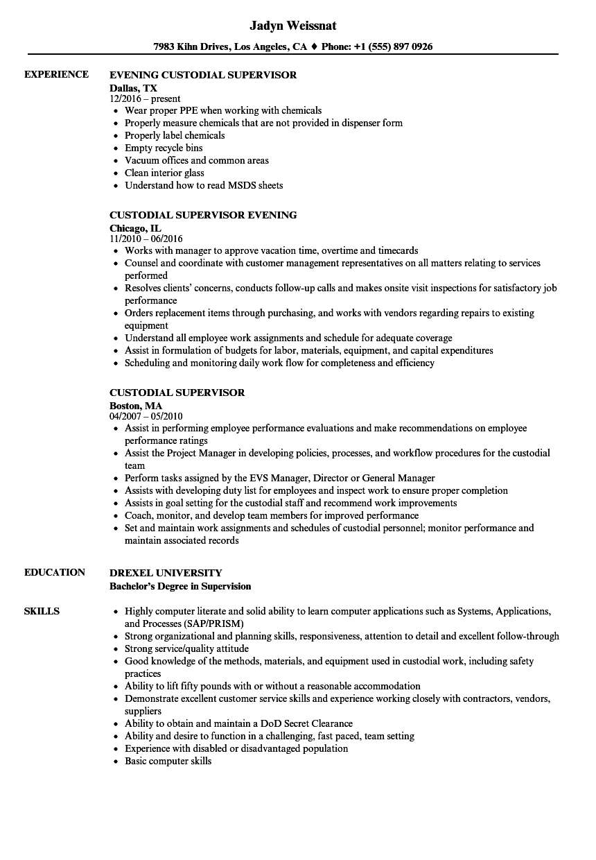 Custodial Supervisor Resume Samples | Velvet Jobs