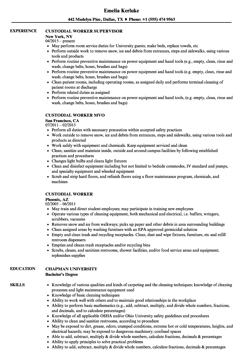 Custodial Worker Resume Samples | Velvet Jobs