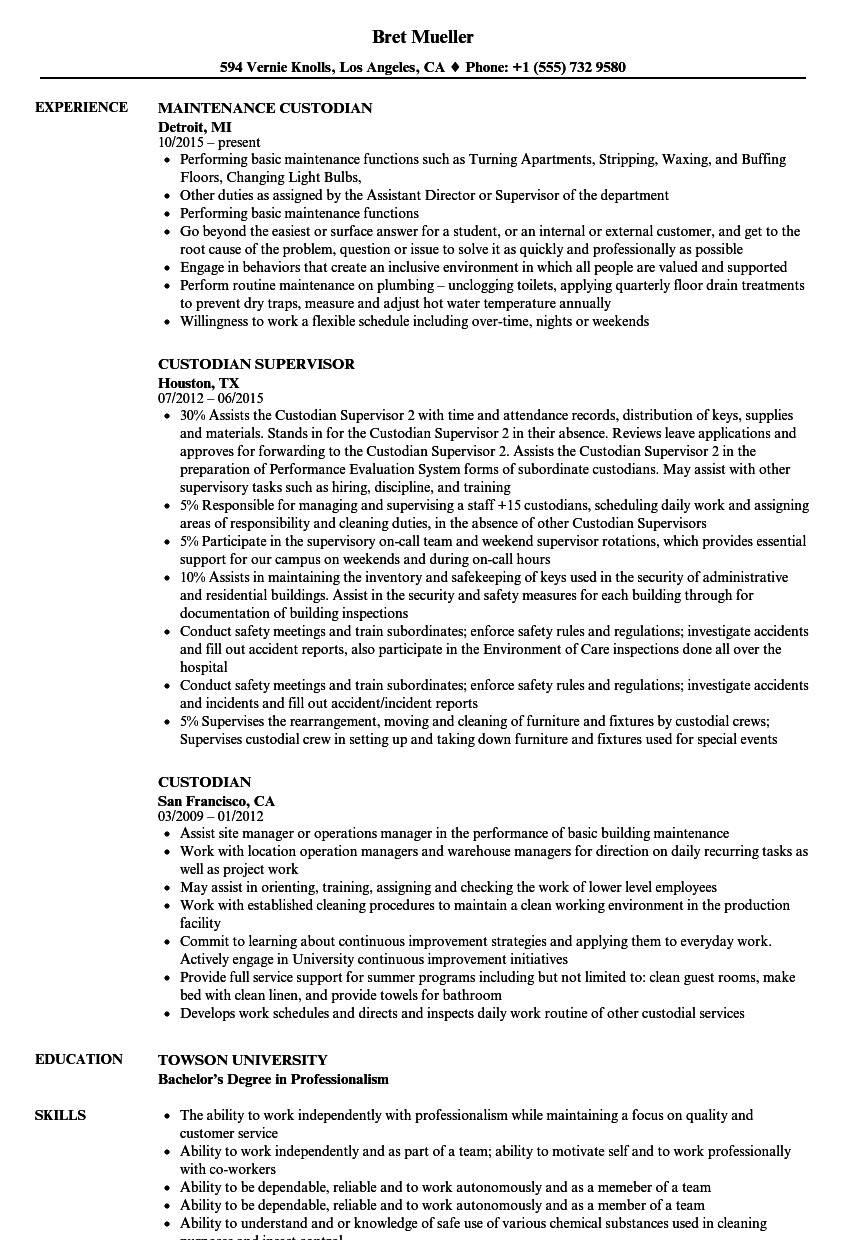 Custodian Resume Samples | Velvet Jobs