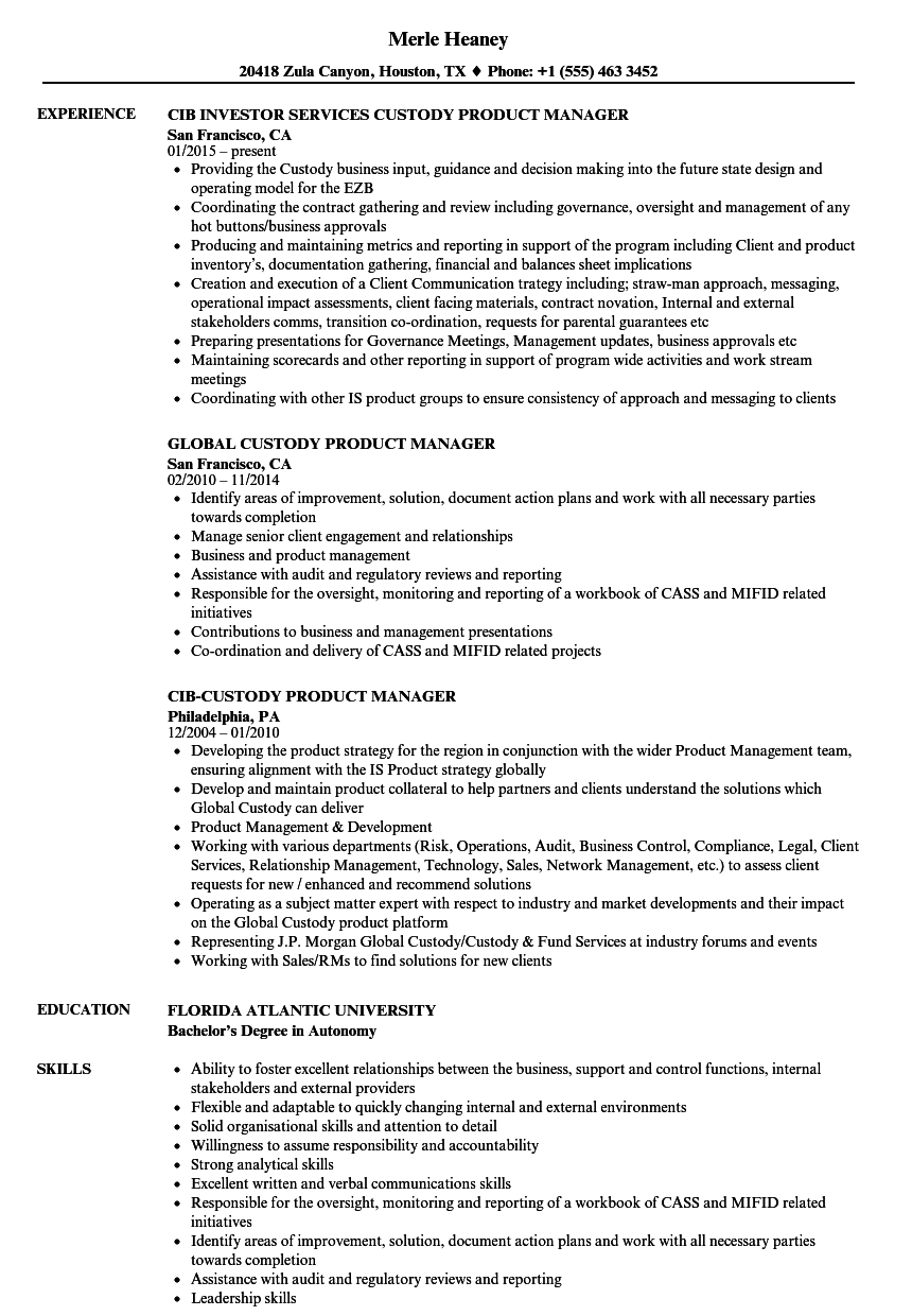 Custody Product Manager Resume Samples | Velvet Jobs