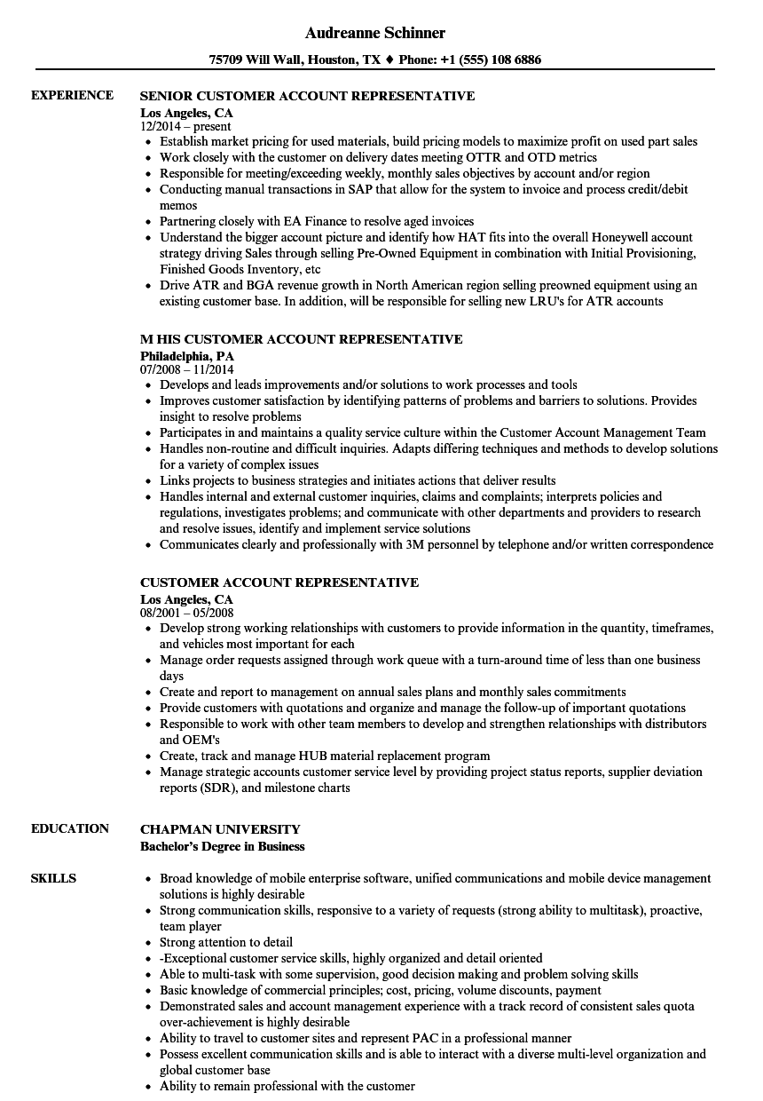 customer account representative resume samples velvet jobs