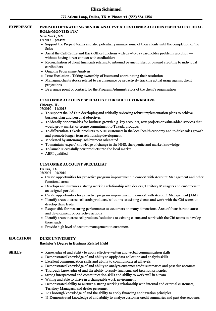 customer account specialist resume samples