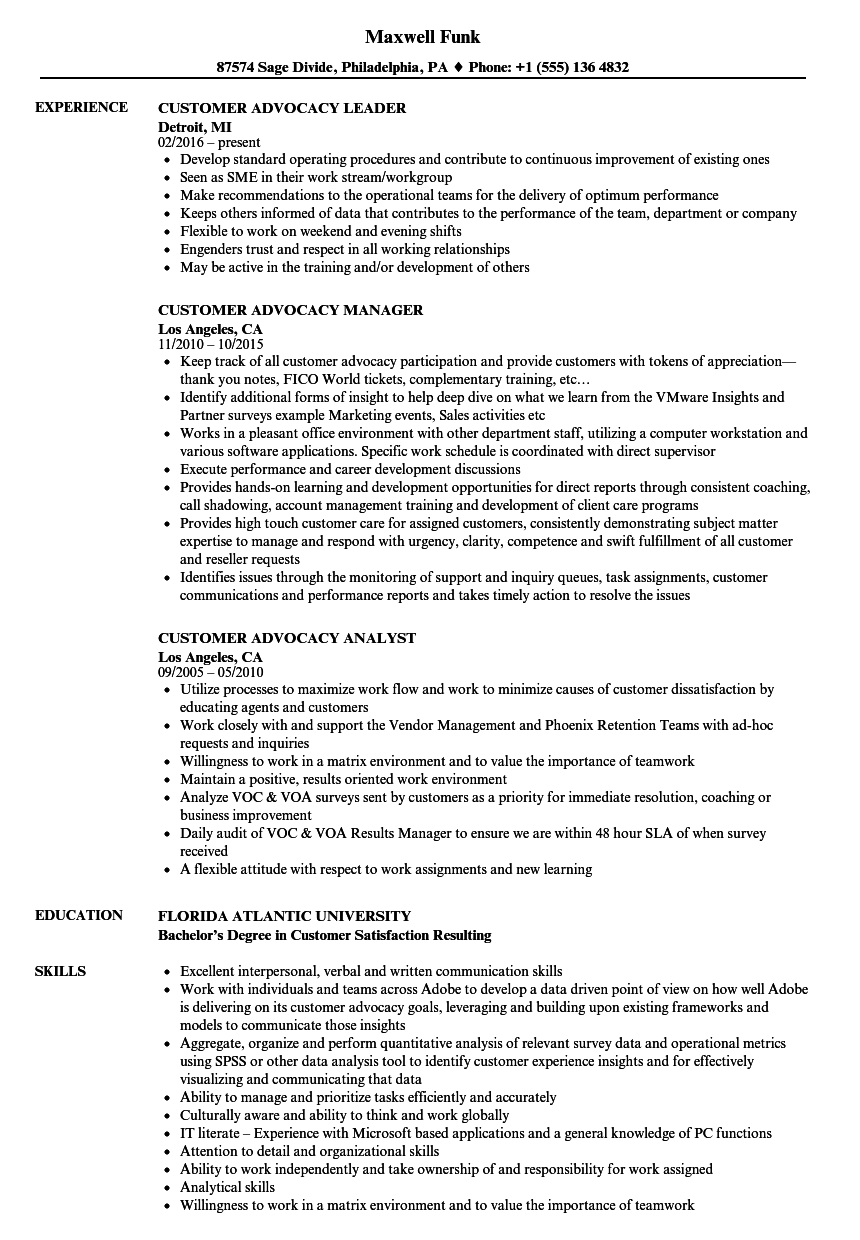 customer advocacy resume samples