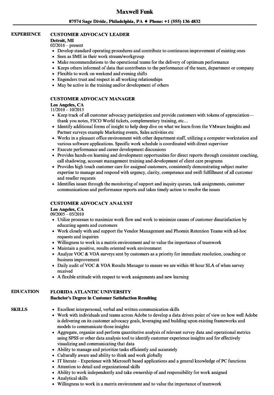 customer advocacy resume samples
