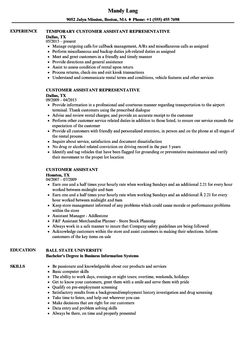 customer assistant resume samples