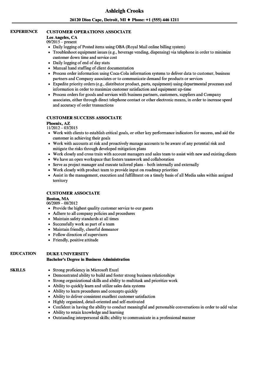 Customer Associate Resume Samples Velvet Jobs